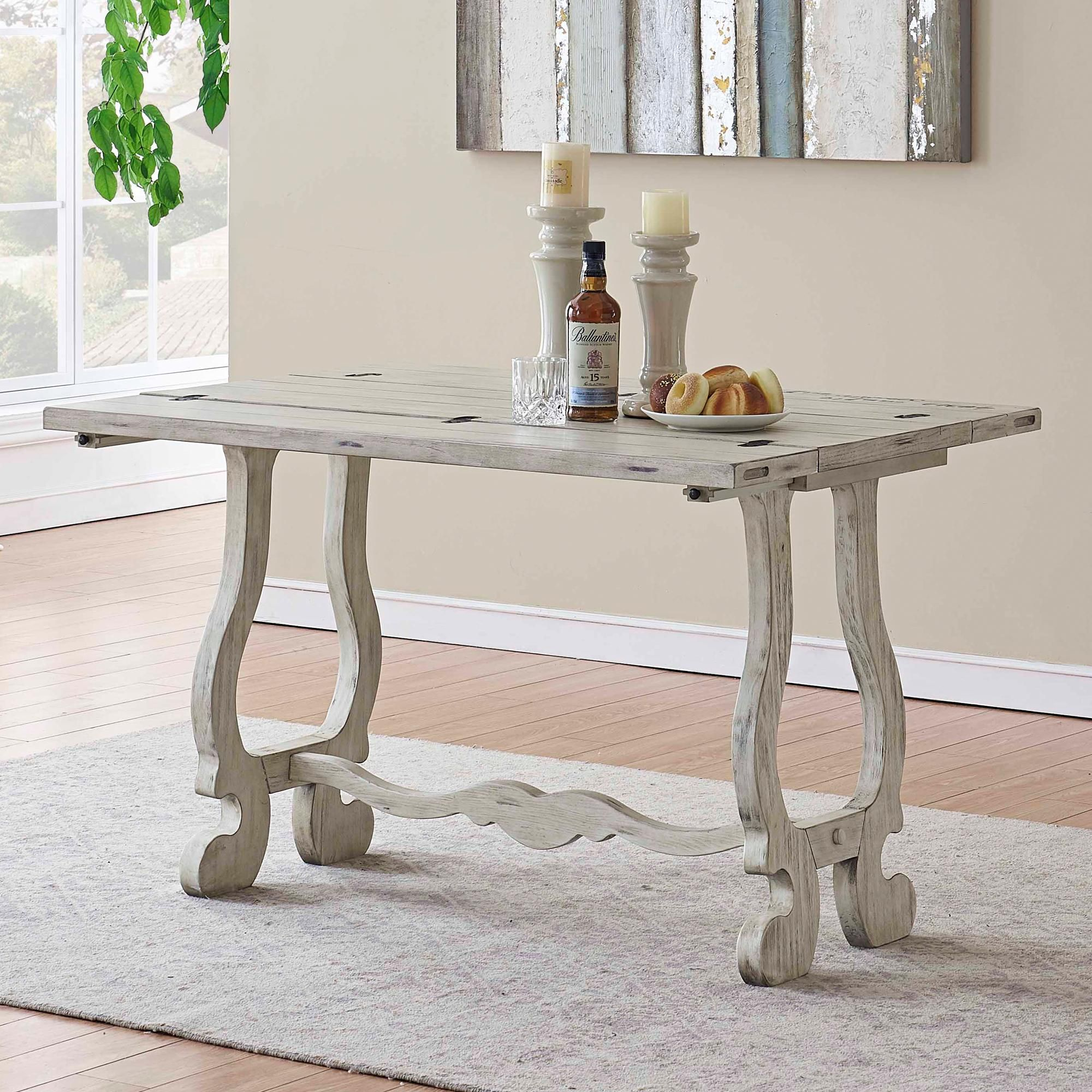 Orchard Park 48 Inch Wide White Wood Fold Out Console Table Di 2020
