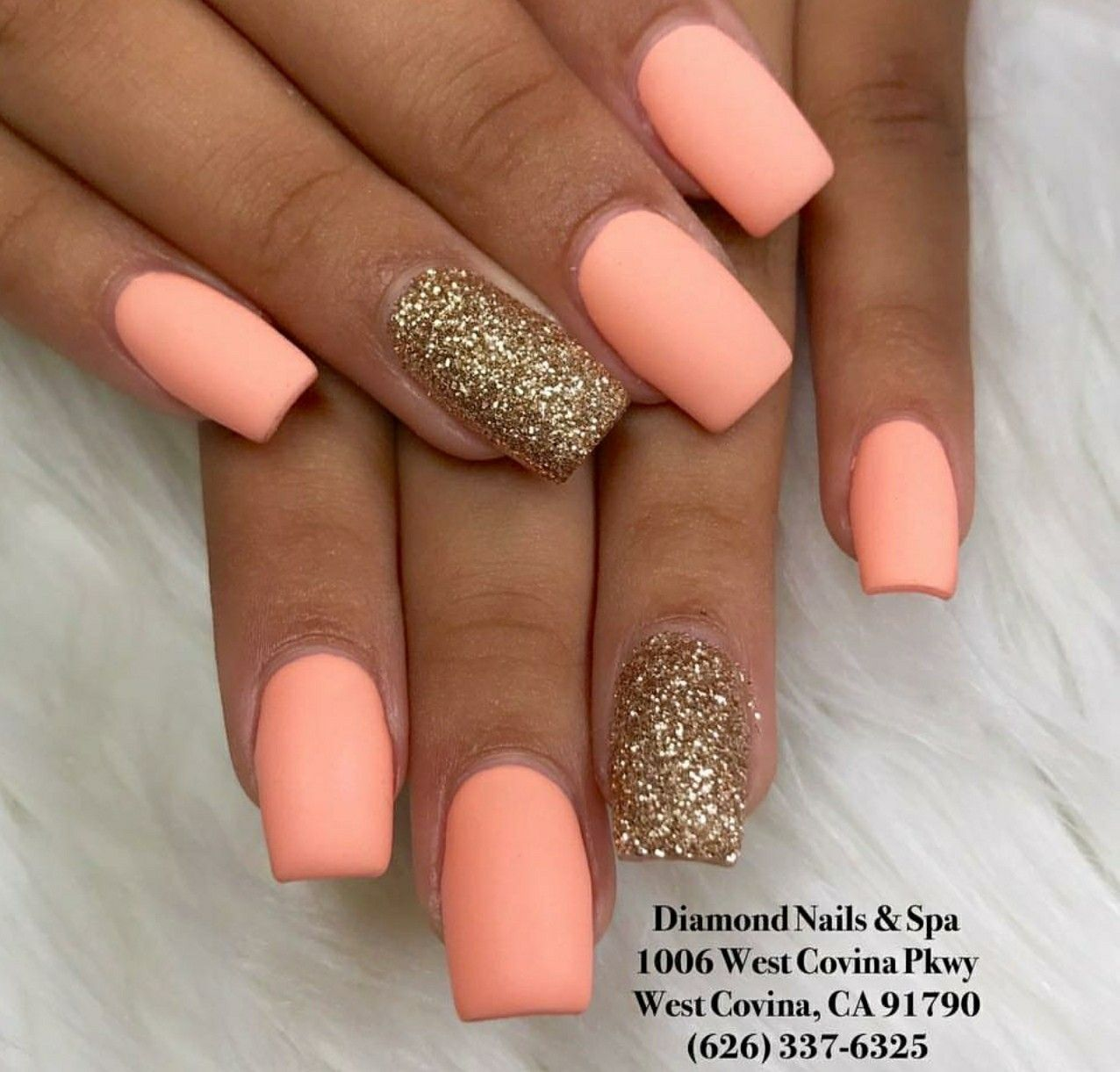 Short Square Nails Matte Nails Gold Glitter Nails Acrylic Nails