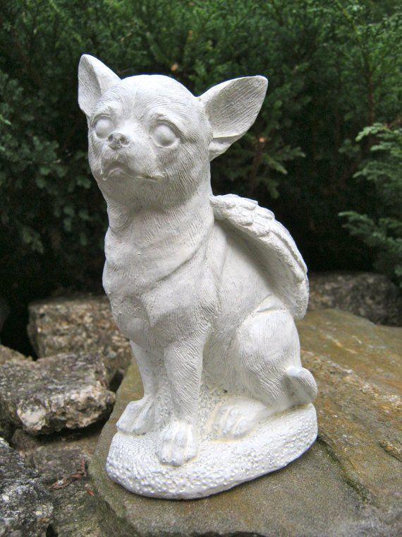 Beau Chihuahua Dog Angel   White Concrete Garden Statue U2013 All About The Garden  Shop