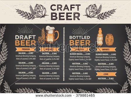 Beer restaurant brochure vector, alcohol menu design Vector bar - restarunt brochure