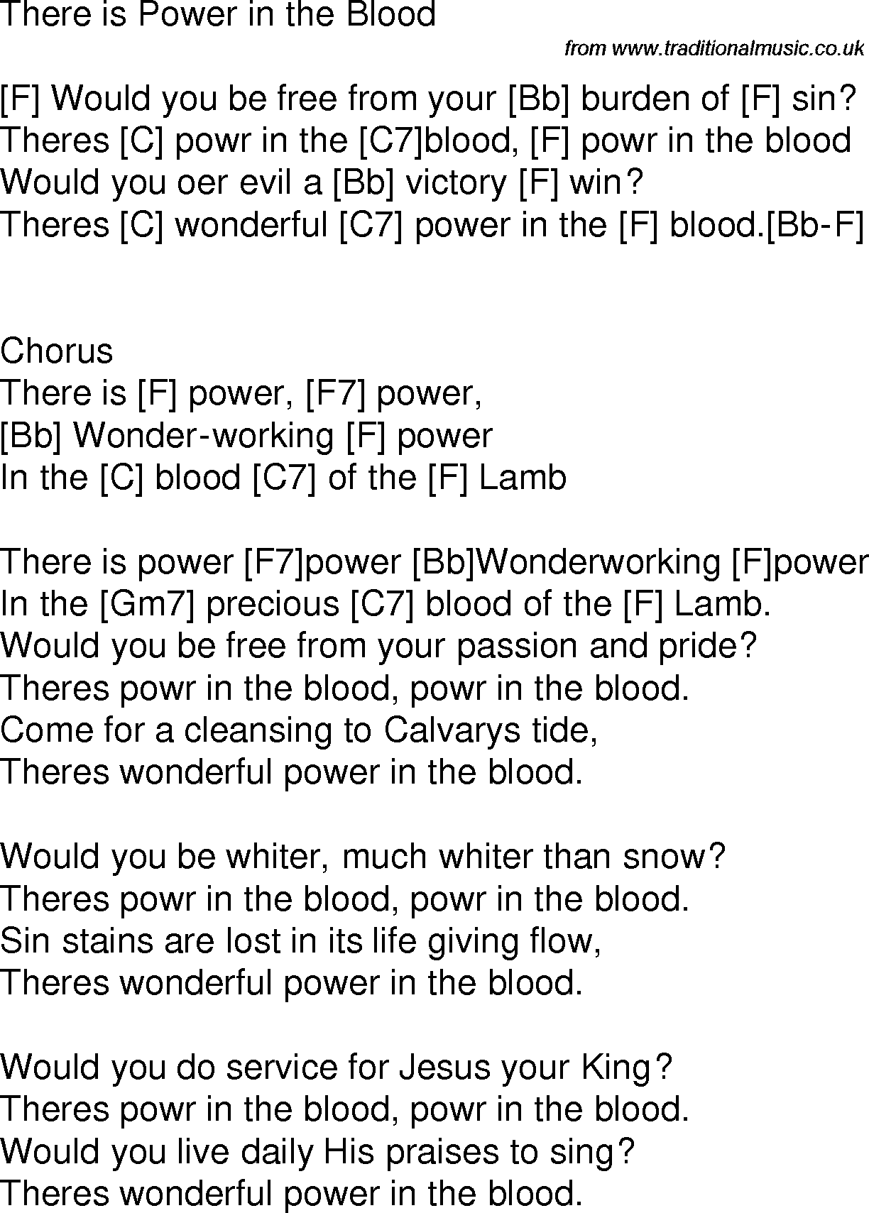 Old time song lyrics with chords for blessed assurance c banjo old time song lyrics with chords for power in the blood f hexwebz Gallery