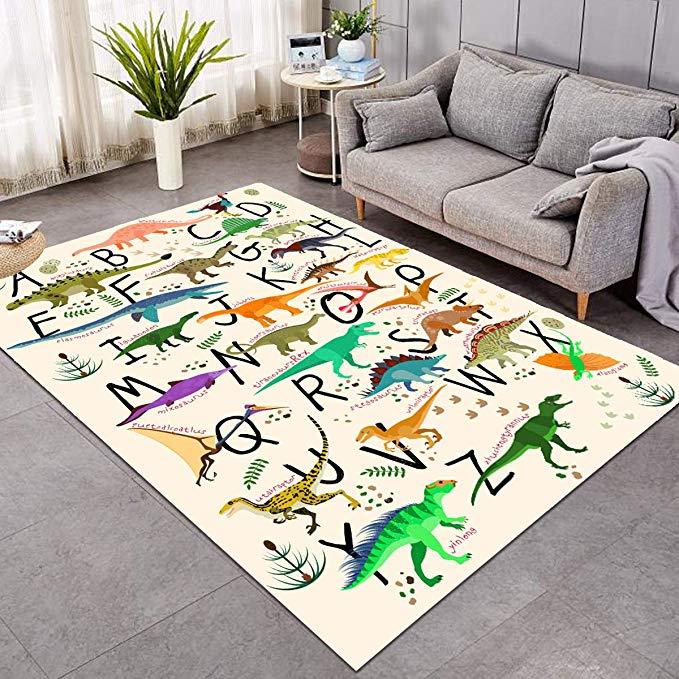 Amazon Com Sleepwish Area Rug Cute Dinosaur Large Carpet For Living Room Bedroom Colorful Alphabet Non Slip Kids Boys Playin Area Rugs Living Room Carpet Rugs