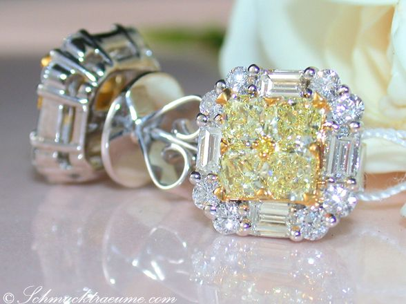 The finest yellow diamonds earrings with diamonds » Juwelier Schmucktraeume.com