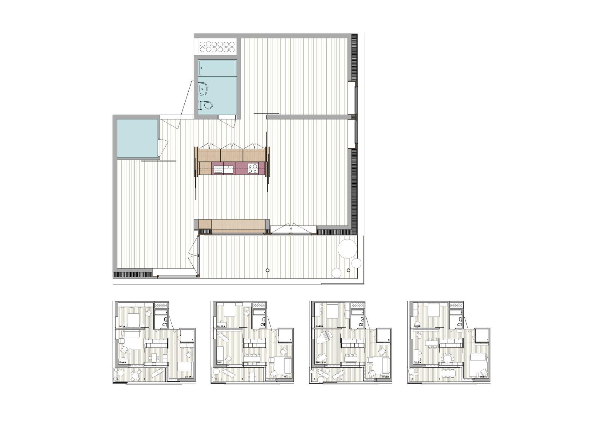 60 1.5 bis 3.5 Zimmer−Wohnungen, Empfangsbereich mit