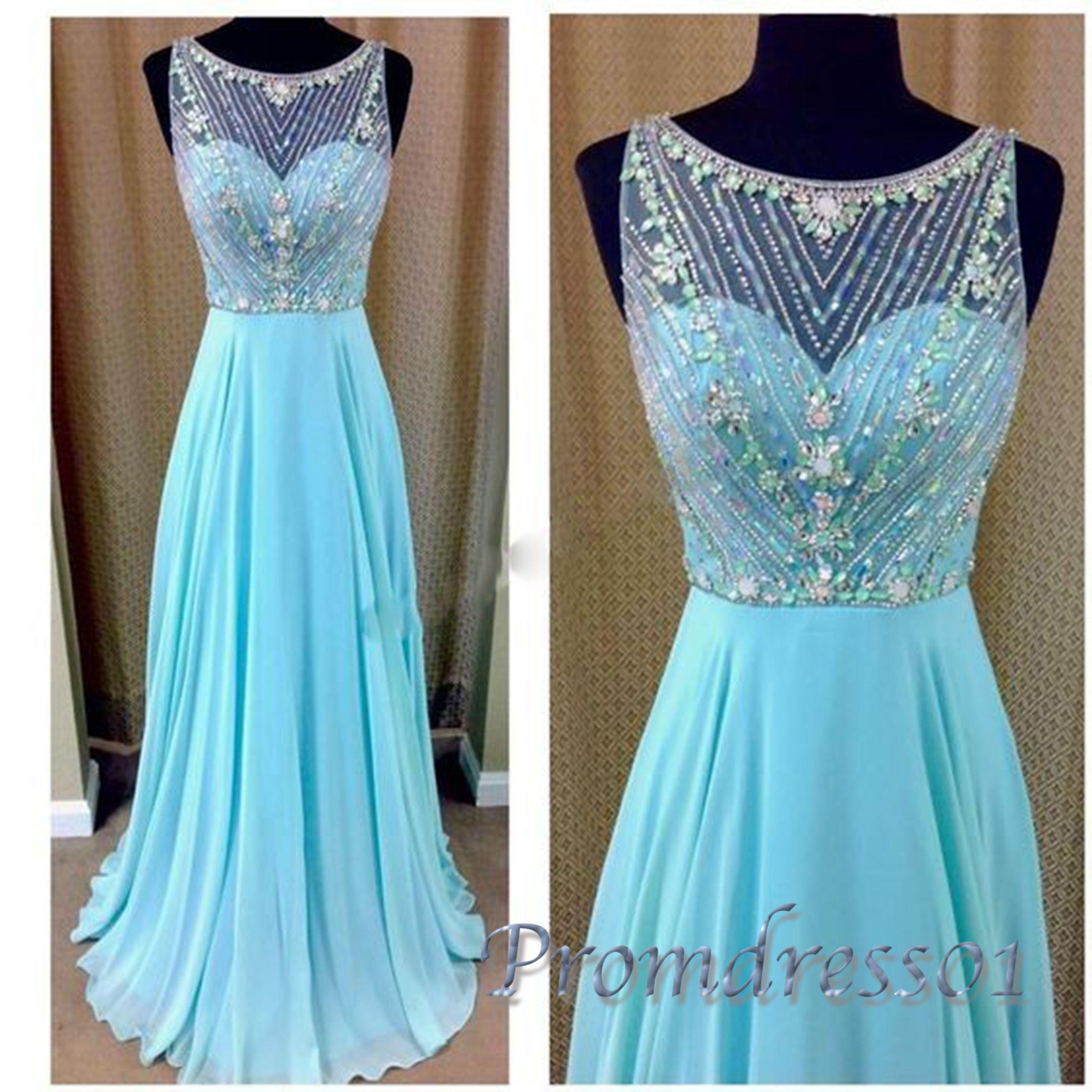 Cute light blue chiffon long prom dress for teens, homecoming dress ...