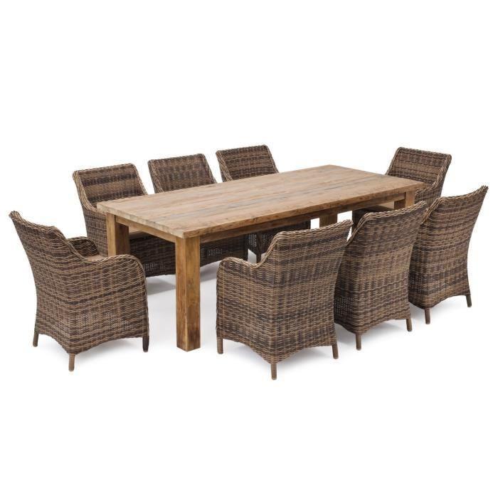 Belardo Theria 2 Salon De Jardin 9 Pieces Teck Table Et Chaises De Jardin Salon De Jardin Ensemble Table Et Chaise