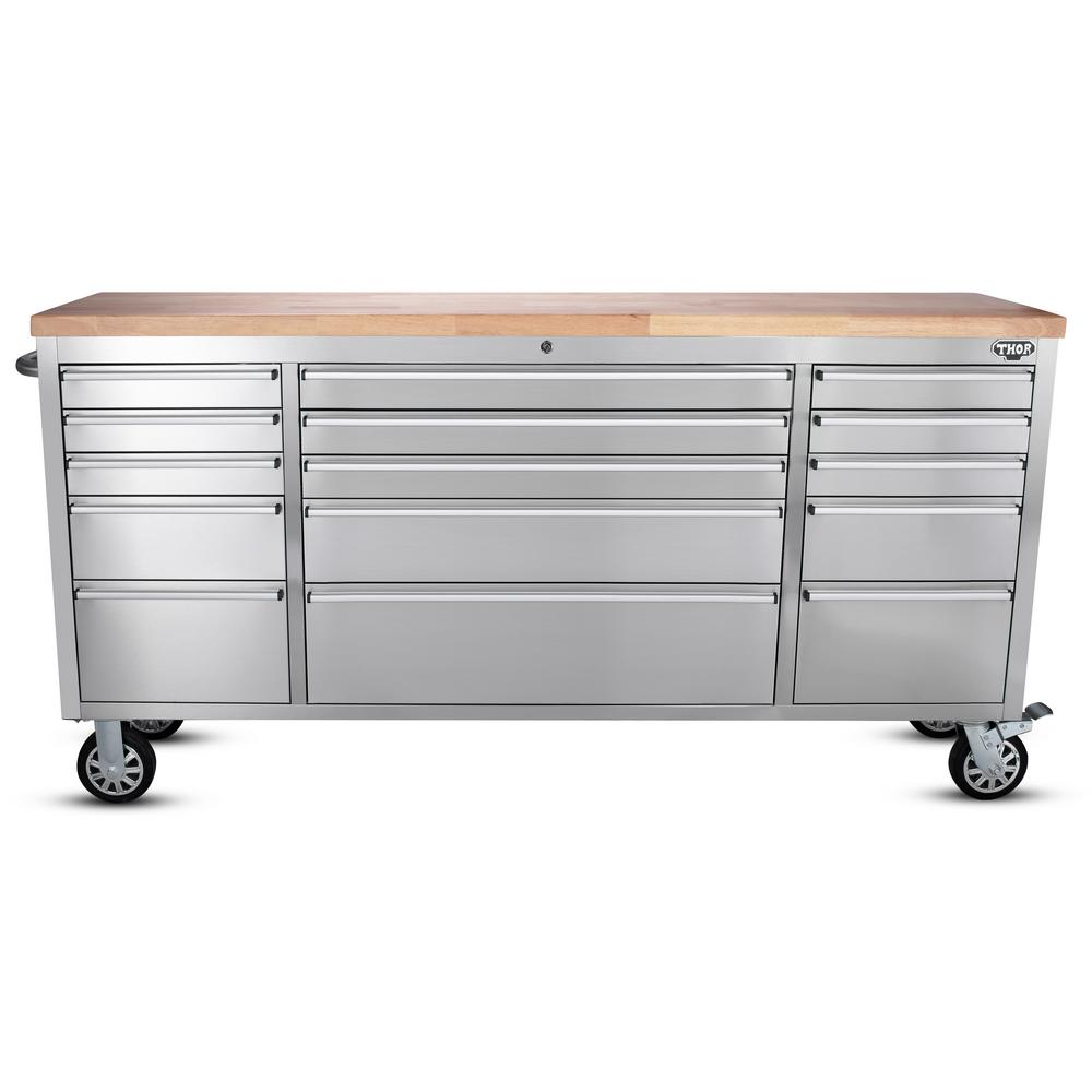 Thor 72 In 15 Drawer Workbench Stainless Steel Htc7215w In 2020