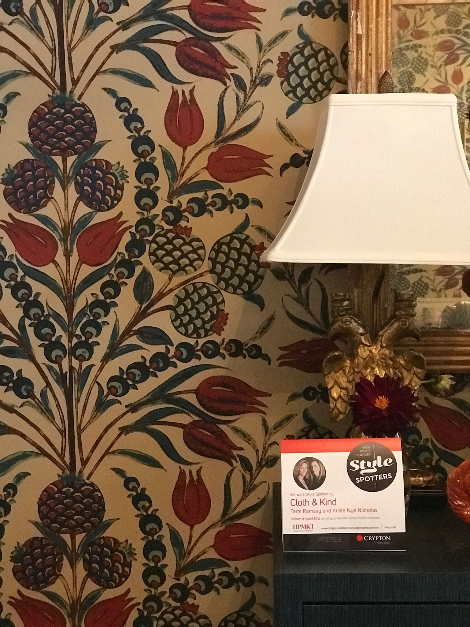 Cornelia Wallpaper in Red & Teal from Thibaut Fine Furniture Showroom: 260 - Market Square, Floor 2 Shuttle Stop: 29 (Red Line) www.thibautdesign.com #hpmkt ...