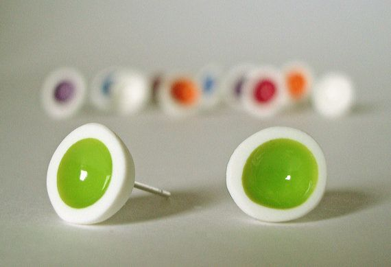 White polymer clay and green enamel paint stud earrings