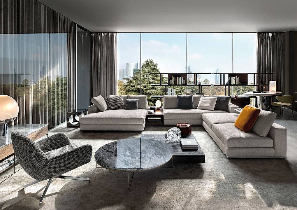 Milan Modern Apartment Inspiration Living Room Decoration With Minotti Furniture Marble Top Cen Luxury Furniture Design Luxury Furniture Luxury Living Room