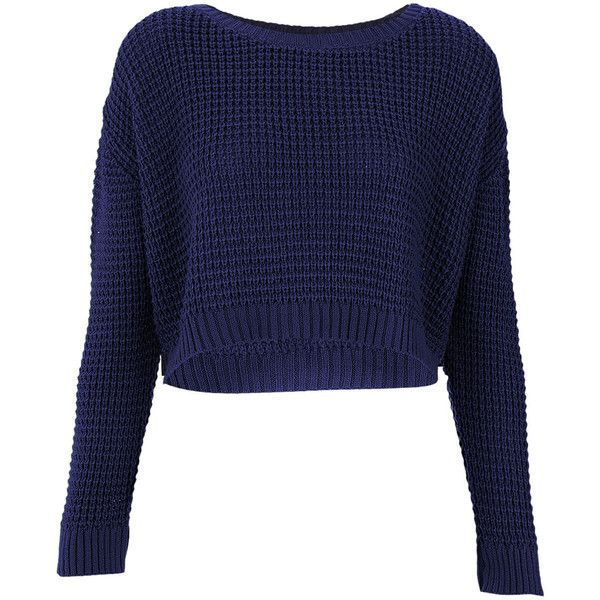 TOPSHOP Knitted Textured Crop Jumper ($45) ❤ liked on Polyvore