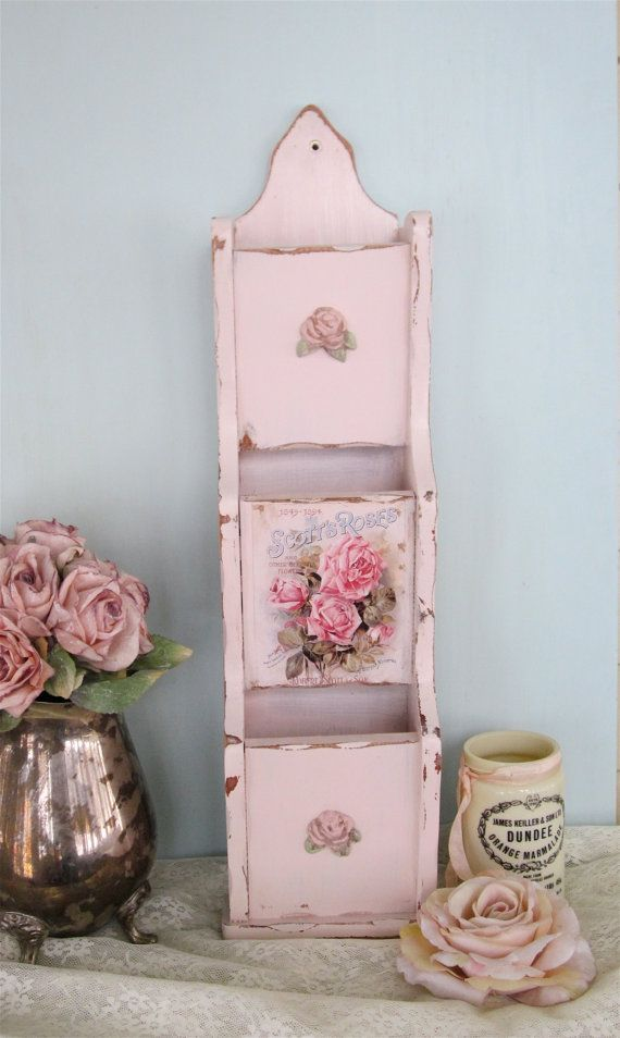 Photo of RESERVED Shabby Chic Mail Holder / Wall pocket- Vintage Up- Cycled, Chippy Pink distressed, vintage roses and rose applique – Shabby Chic Decor Ideas