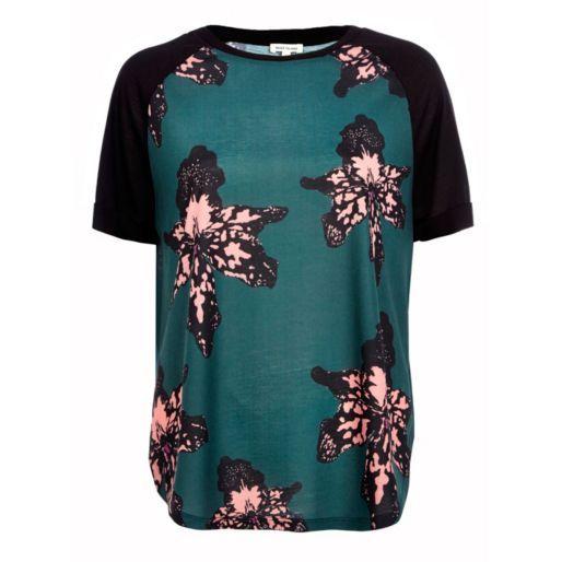 Dark green floral split side t-shirt