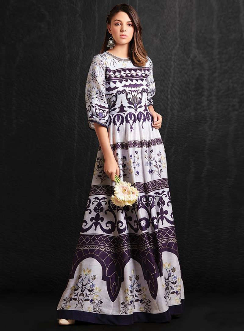 23a3788b824 Shop Off White Silk Readymade Long Gown 149646 online at best price from vast  collection of designer kurti at Indianclothstore.com.