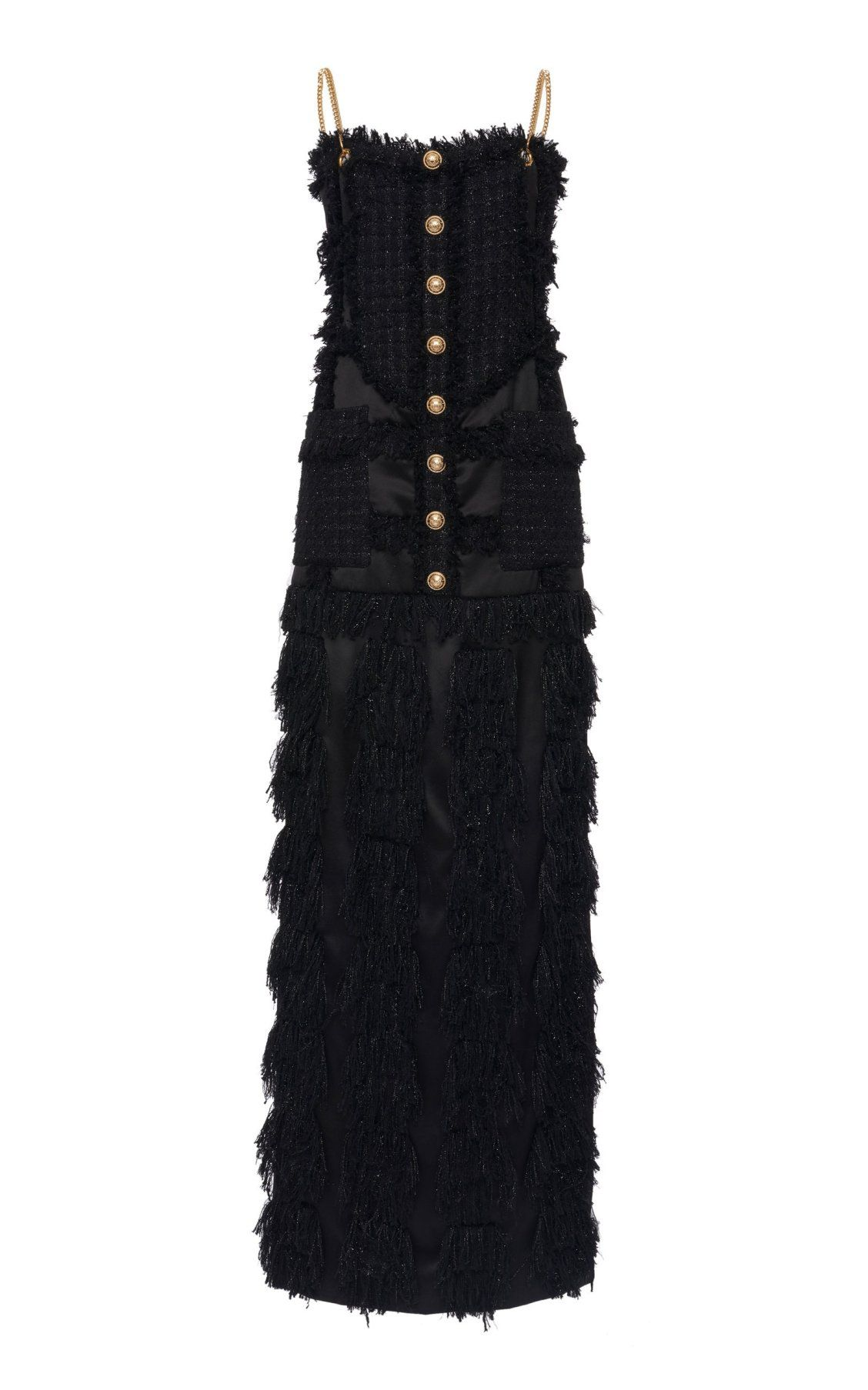 1049eb29b7de40 Fringed Tweed Velvet Maxi Dress by Balmain PF19