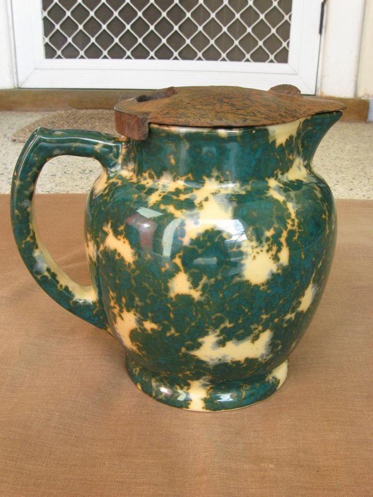 Vintage Essco Green Blue Mottled Ceramic Electric Jug Kettle Bakelite Lid With Images Electric Jug Vintage Ceramic Vintage Pottery