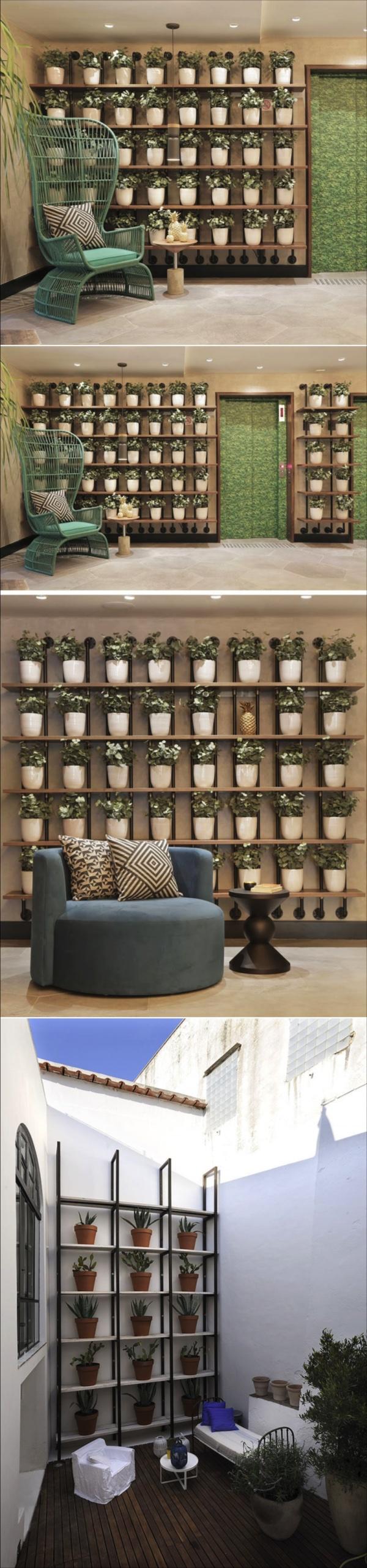 Wall decor idea u create a grid of identical planters for a