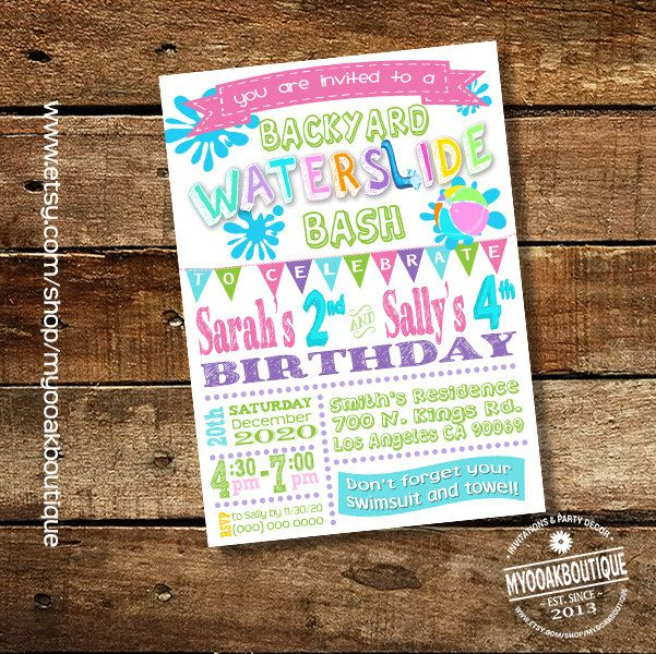 Waterslide Backyard Bash Invitation Birthday Party Water Slide Girl