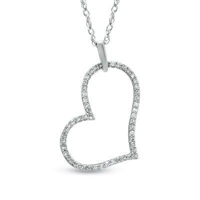 1 10 CT T W Diamond Tilted Heart Outline Pendant in 10K White