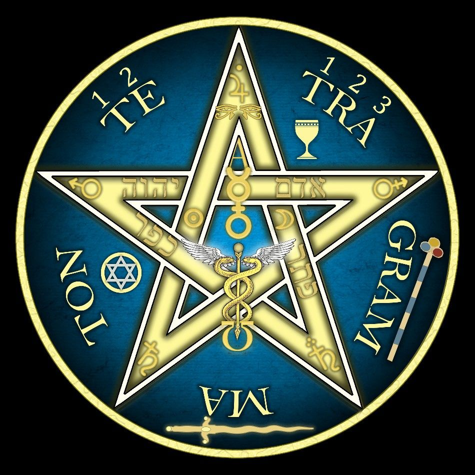 Pentagrama Esotérico Azul Pentagramas Tetragramaton Símbolos Místicos