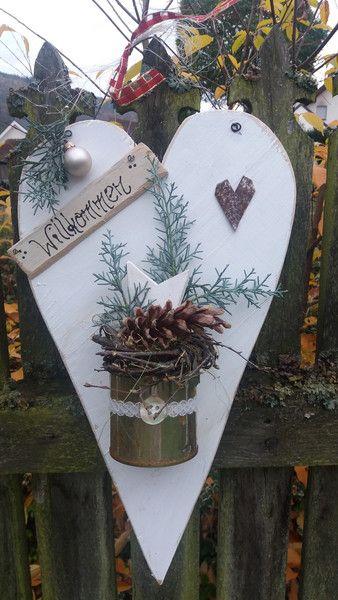 Weihnachtsdeko - ♥ Holzherz XL weiss ♥ - ein Designerstück von HausNo7 bei DaWanda