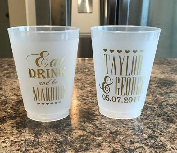 Eat Drink And Be Married Wedding Cups Monogrammed Wedding Favors