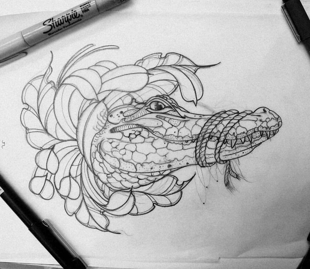 Como Hacer Un Diseño Para Tatuaje cocodrilo tattoo neotradicional | cocodrilo dibujo, diseños