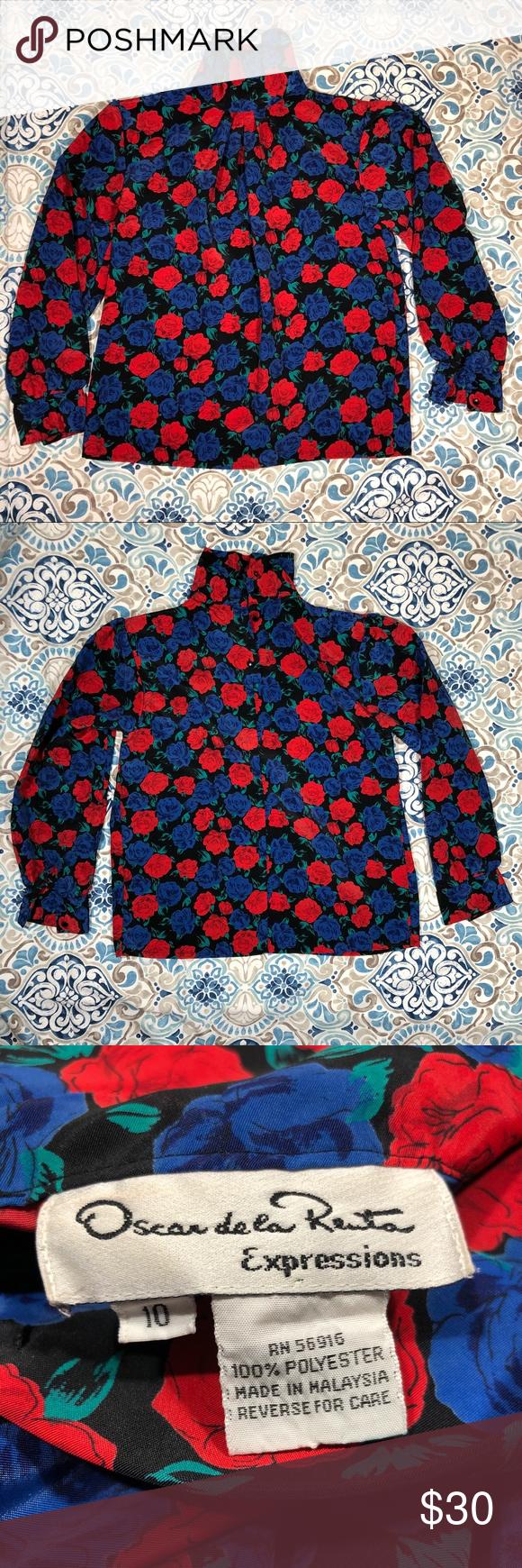 Size 10 Floral Vintage Victoria Jones Blue Polyester Red