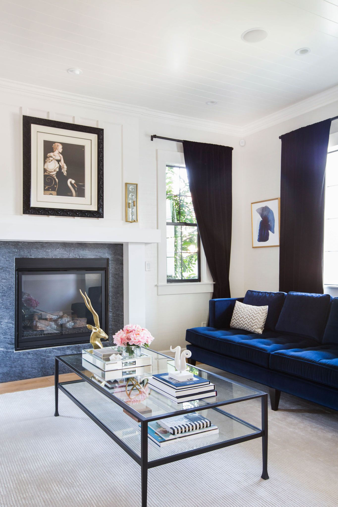 Pop Of Color Featured In The Royal Blue Couch | Katherine Carter