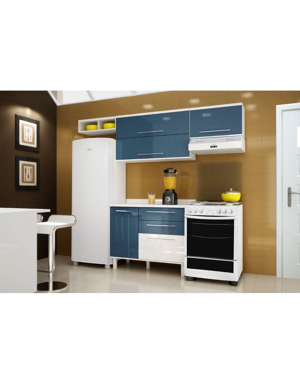 Cozinha Compacta M Veis Palmeira T Mara 02 Branco Azul Apartamento