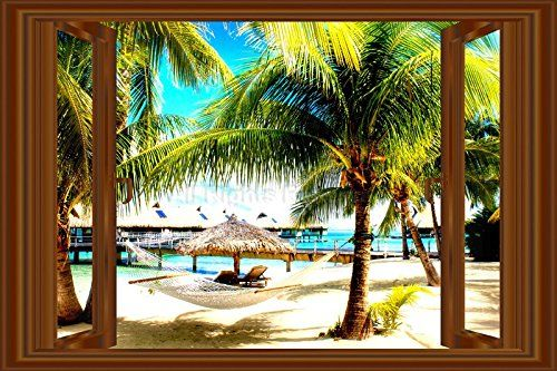 3D Window Decal WALL STICKER Home Decor Beach Palms View Art