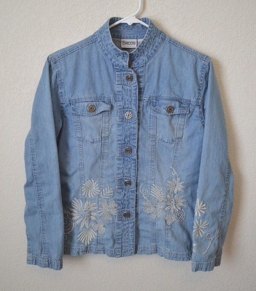 0be1b99aae CHICO S Size 1 Faded Light Wash Floral Embroidered Denim Jacket  fashion   clothing  shoes  accessories  womensclothing  coatsjacketsvests (ebay link)