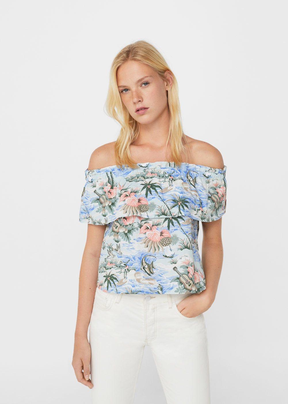 5211c1e43a Tropical off-shoulder top - Woman