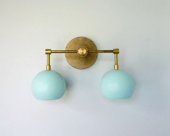 Double Loa Sconce - brass and mint wall sconce - gold and mint - two light sconce - brass and ...