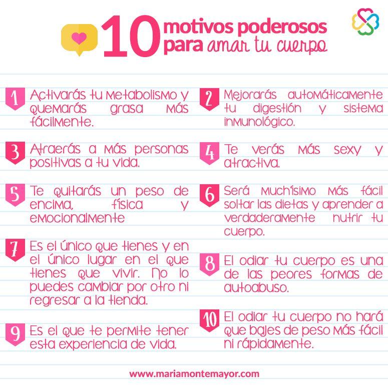 10 Motivos Poderosos Para Amar Tu Cuerpo Cuerpo Te Amo Pensamientos Positivos