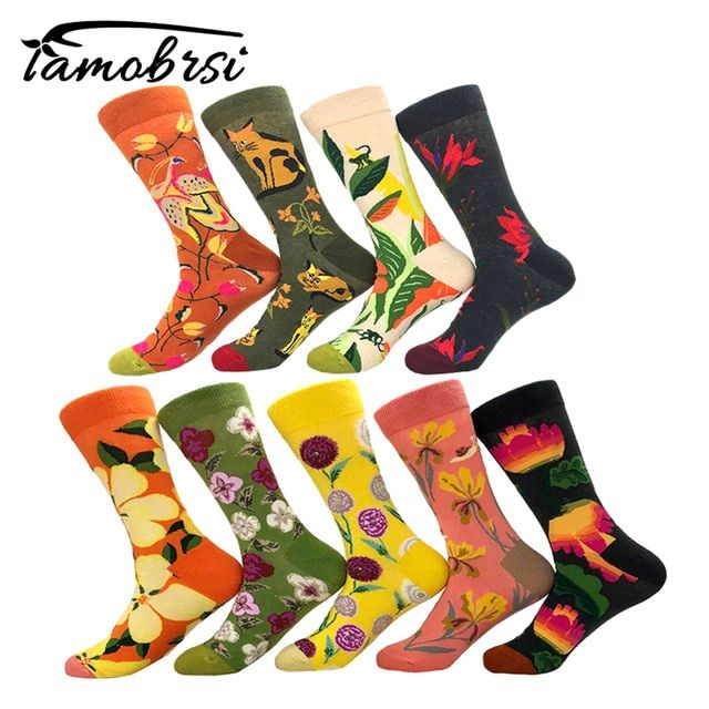 03dcd5a94a Cool Plant Flower Sunflower Cat Cartoon Funny Crazy Winter Sox Women  Streetwear Happy Socks Brand Men Cotton Thick Warm Socks Review