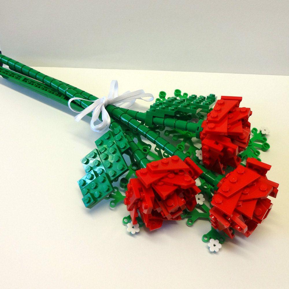 Custom made open rose bouquet lego wedding lego flower