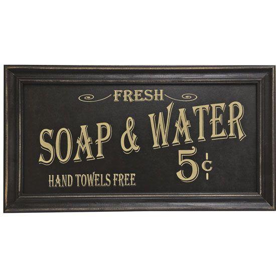 Merveilleux Vintage Bathroom Sign | Vintage Soap And Water Sign