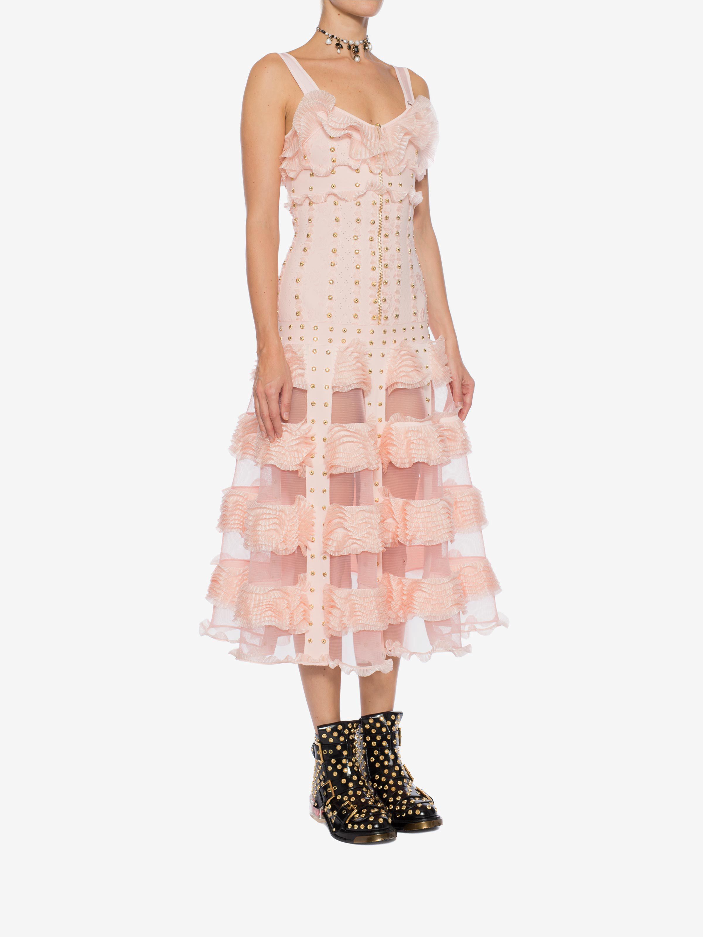 Alexander mcqueen cage ruffle knitted long dress tint pinkgold m