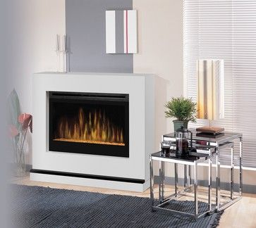 Atlantis White Wall Or Corner Electric Fireplace With Glass Embers Bspc 3033g Modern Electric Fireplace Contemporary Electric Fireplace Electric Fireplace