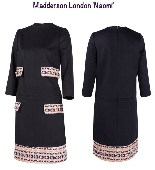 January 15, 2015 - Crafted in a rich navy fabric embellished with French tweed trim and shiny gold buttons, the dress is above knee length with topstitching detail on the front, three-quarter sleeves, and an invisible zipper in the back. Pinstripe and Pearls