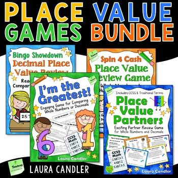 The Place Value Games Bundle consists of four games for reviewing and practicing whole number and decimal place value. They make great math center activities and cooperative learning review games. This bundle is most appropriate for 4th and 5th grade due to the decimal content.