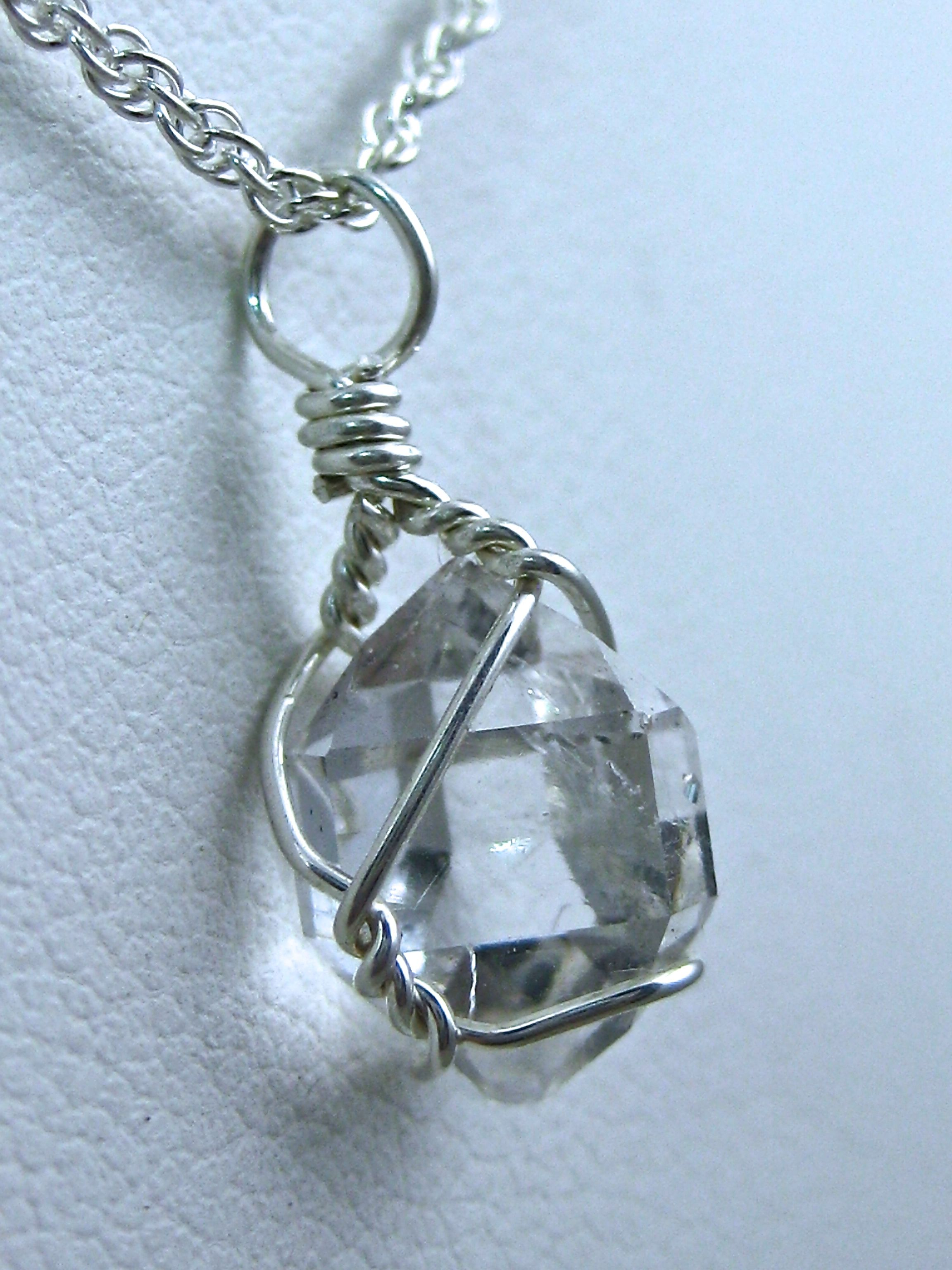 Sterling Silver wire wrapped Herkimer Diamond necklace handmade by ...