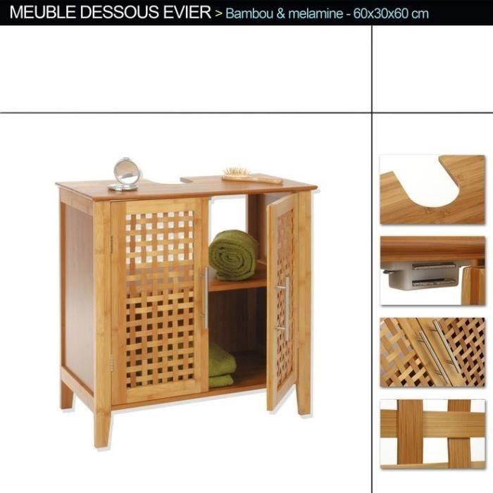 Meuble Sous Lavabo Bambou Achat Vente Meuble Vasque Plan