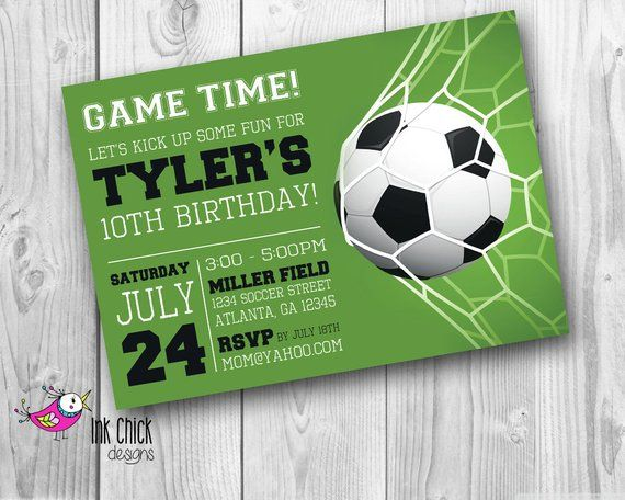 Soccer Birthday Invitation Sports Invitation Football