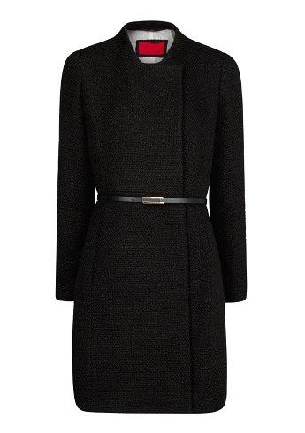 Black Stand Collar Long Sleeve Belt Outerwear - Sheinside.com