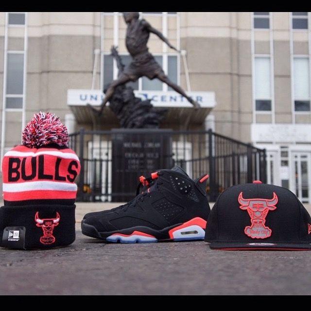 ec2e37b8417 Air Jordan 6 infrared Chicago Bulls Snapback and beanie