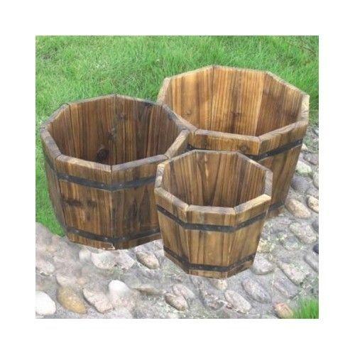 Patio Garden In 2019 Barrel Planter Wood Barrel Planters Whiskey Barrel Planter