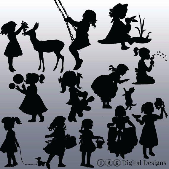 12 Girl Silhouette, Digital Clipart Images, Clipart Design Elements, Instant Download, Black Silhouette Clip art