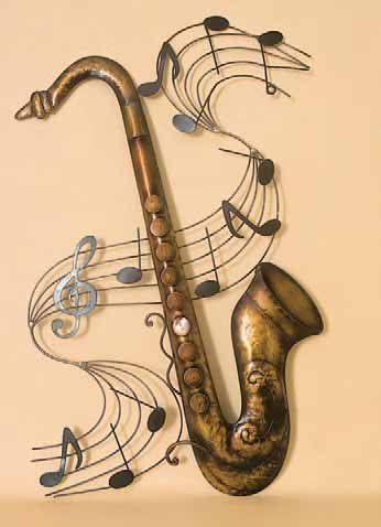 Saxophone With Music Score Metal Wall Art For 25 00 Saxophone Art Art Music Music Art
